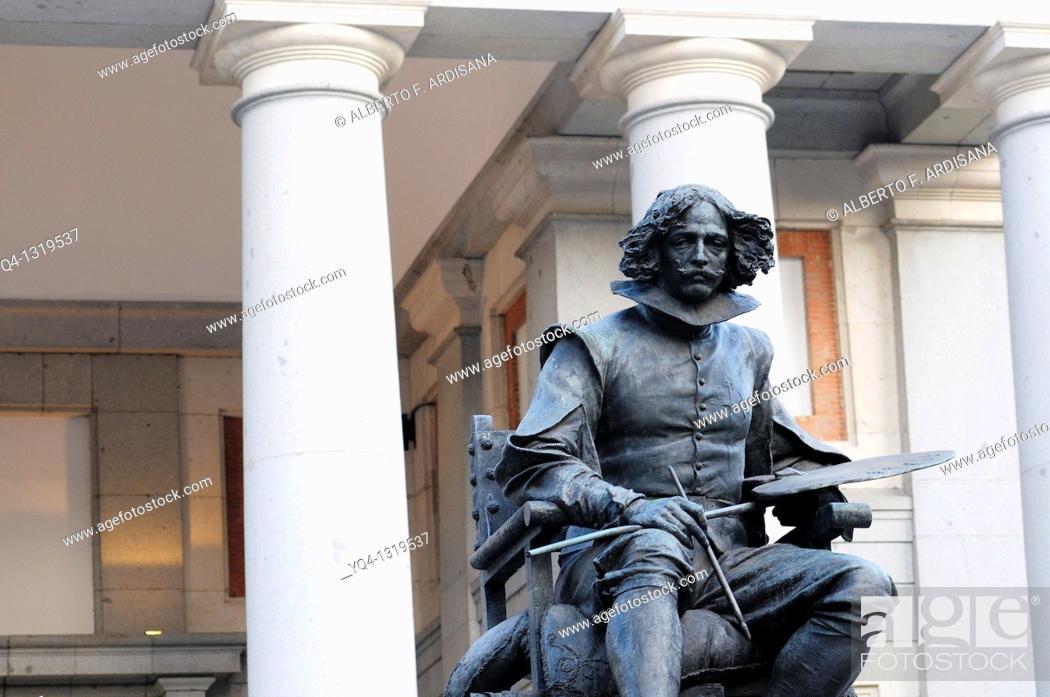 Stock Photo: Monument to Velazquez in front of Prado Museum, Madrid, Spain.