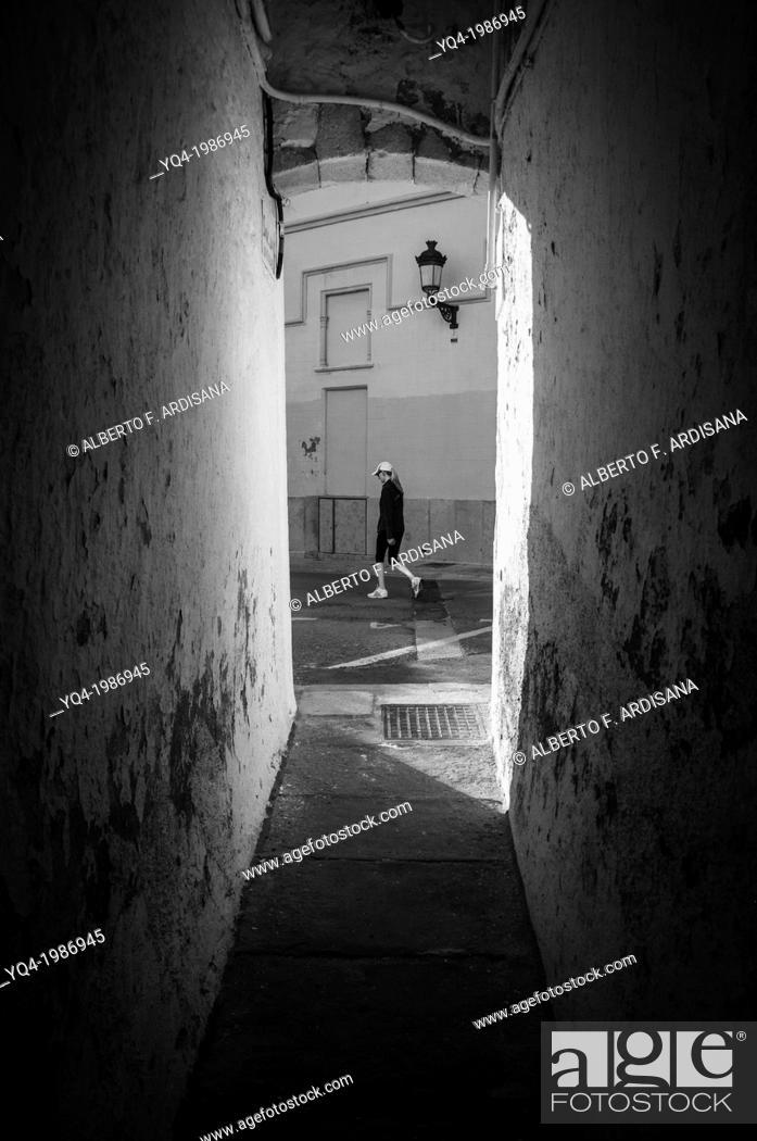 Stock Photo: Narrow alley in the vicinity of the church of Sitges, Barcelona, Spain.