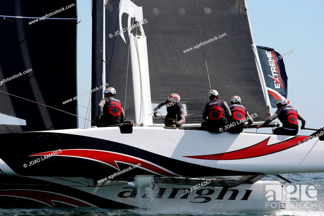 Stock Photo: Sailing: Alinghi, Swisstzerland, with Ernesto Bertarelli as a Skipper. Extremesailing Act 4 at Baia de Cascais, Cascais, Portugal.