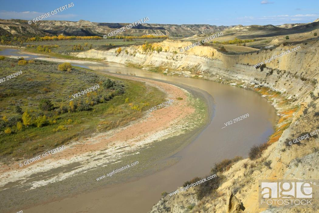 Stock Photo: Little Missouri River from Wind Canyon Trail, Theodore Roosevelt National Park-South Unit, North Dakota.