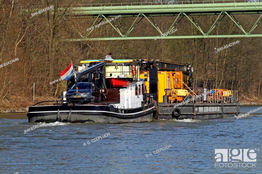 Stock Photo: barge on waterway Rhein-Herne-Kanal, Germany, North Rhine-Westphalia, Ruhr Area, Bottrop.