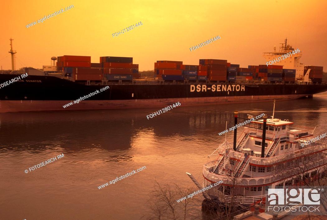 Savannah, GA, Georgia, A huge cargo ship carrying containers