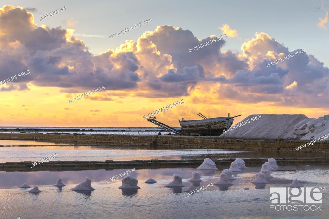 Stock Photo: Trapani and Paceco saline natural reserve, Trapani province, Sicily, Italy.