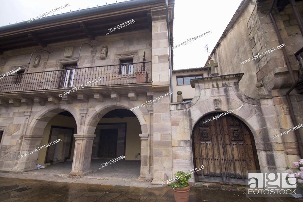 Stock Photo: Riocorvo medieval village in Cantabria Spain.
