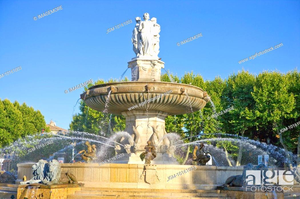 Stock Photo: Fontaine de la Rotonde in Aix-en-Provence, Provence-Alpes-Cote d'Azur, France.