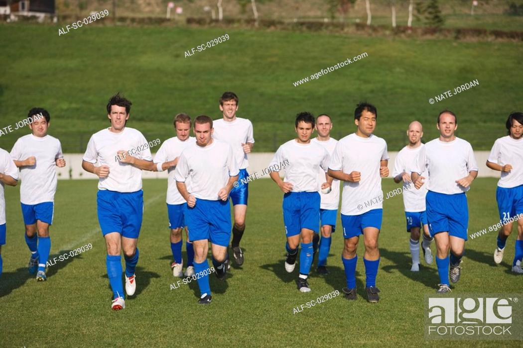 Stock Photo: Soccer Team Warming Up.
