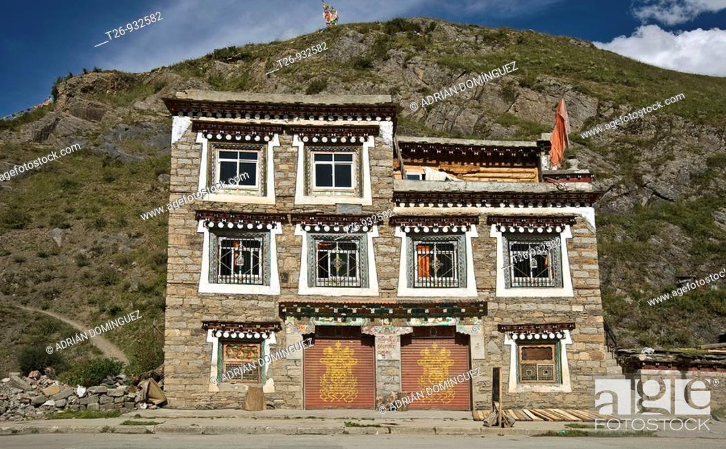 Stock Photo: A tradicional tibetian house in Tagong, Sichuan province.