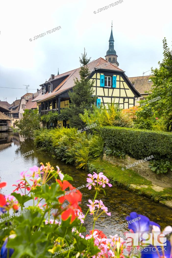 Stock Photo: old village Andlau, Alsace Wine Route, France, half-timbered houses and flower decoration at the brook side.