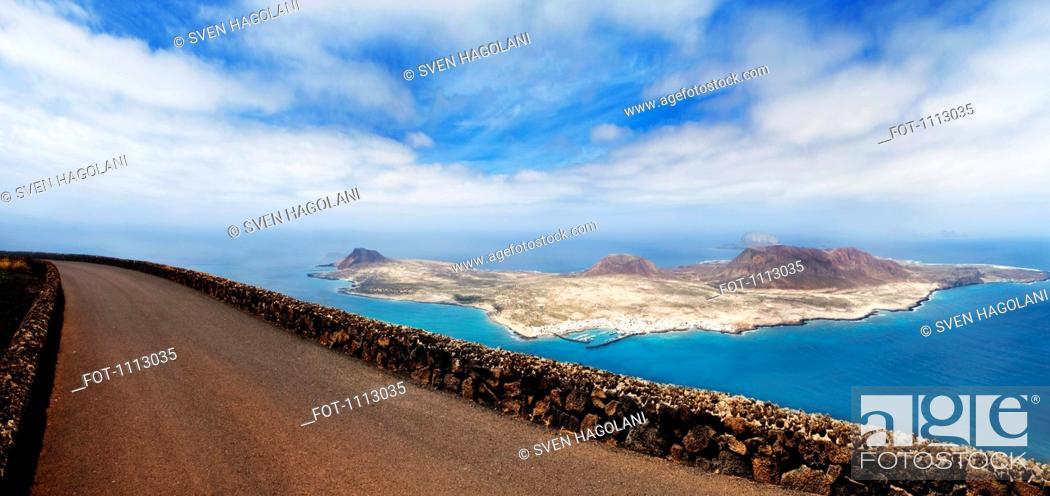 Stock Photo: View from road of La Graciosa, Spain.