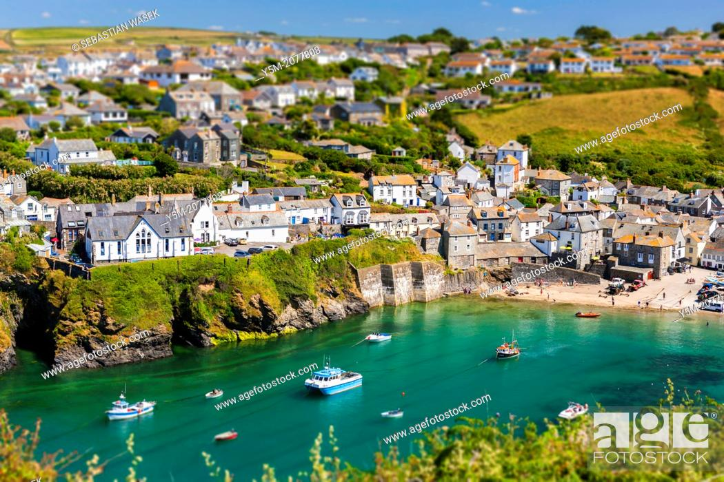Stock Photo: Port Isaac (Cornish: Porthysek), a small and picturesque fishing village on the Atlantic Coast of north Cornwall, England, United Kingdom.