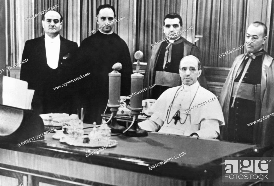Stock Photo: Pope Pius XII made a radio appeal for peace on November 8, 1940 during World War II. Broadcasting in four languages, Vatican Radio appealed to Catholics to.