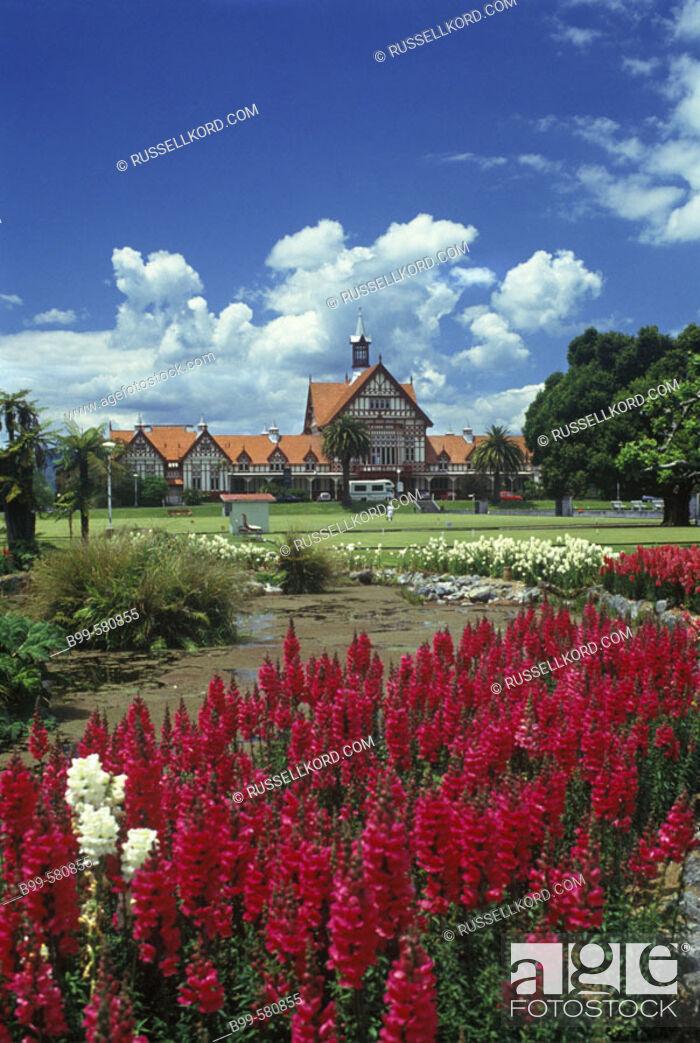 Stock Photo: Tudor Towers, Government Gardens, Rotorua, New Zealand.