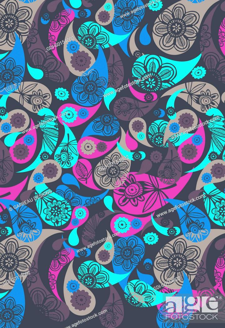 Imagen: Colorful layered paisley design.