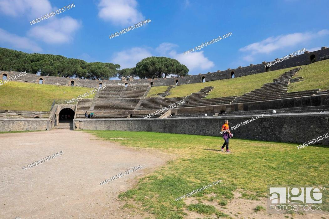 Stock Photo: Italy, Campania region, archeological site of Pompeii listed by UNESCO as a World Heritage Site, ancient city of the Roman Empire destroyed by the eruption of.
