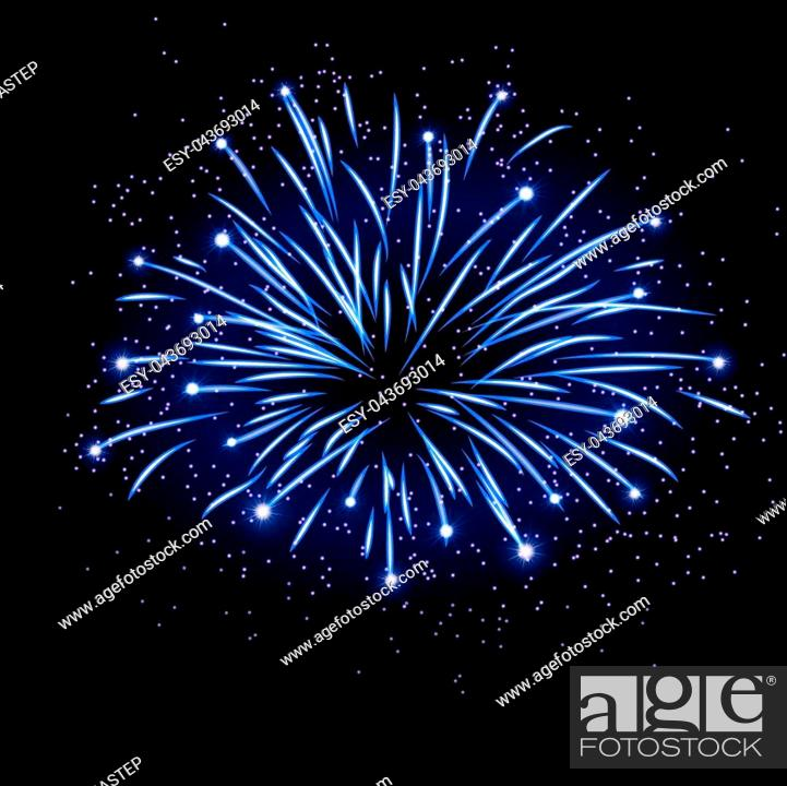 Stock Vector: Firework bursting sparkle background. Isolated blue colorful night fire, beautiful explosion for celebration, holiday, Christmas, New Year, birthday.