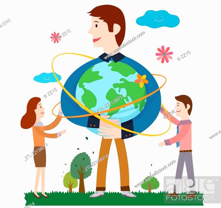 Stock Photo: Man holding Earth.