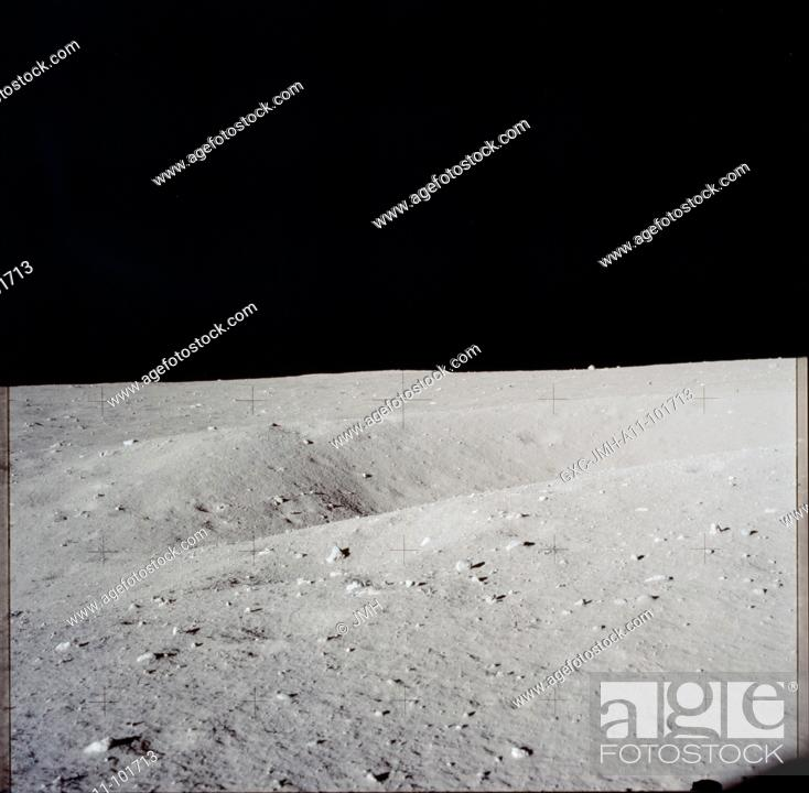 Stock Photo: Apollo 11 hasselblad image from film magazine - eva. double crater near lm. Apollo 11 mission, first landing on the moon, july 1969.