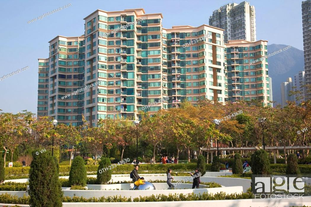 Stock Photo: Ma On Shan Park with contemporary condominium in background, Ma On Shan, Hong Kong.