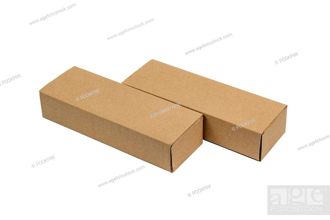 Stock Photo: Two long rectangle closed brown cardboard box packaging blank template in isolated on white background.