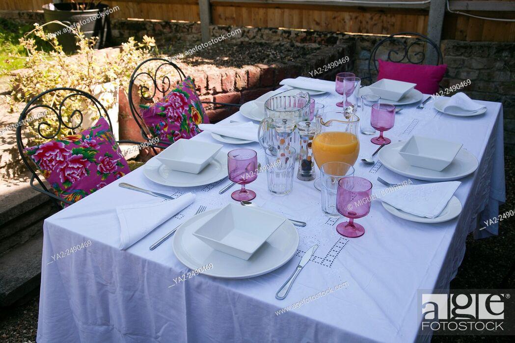 Imagen: Set Table for Lunch on Garden Patio - UK.