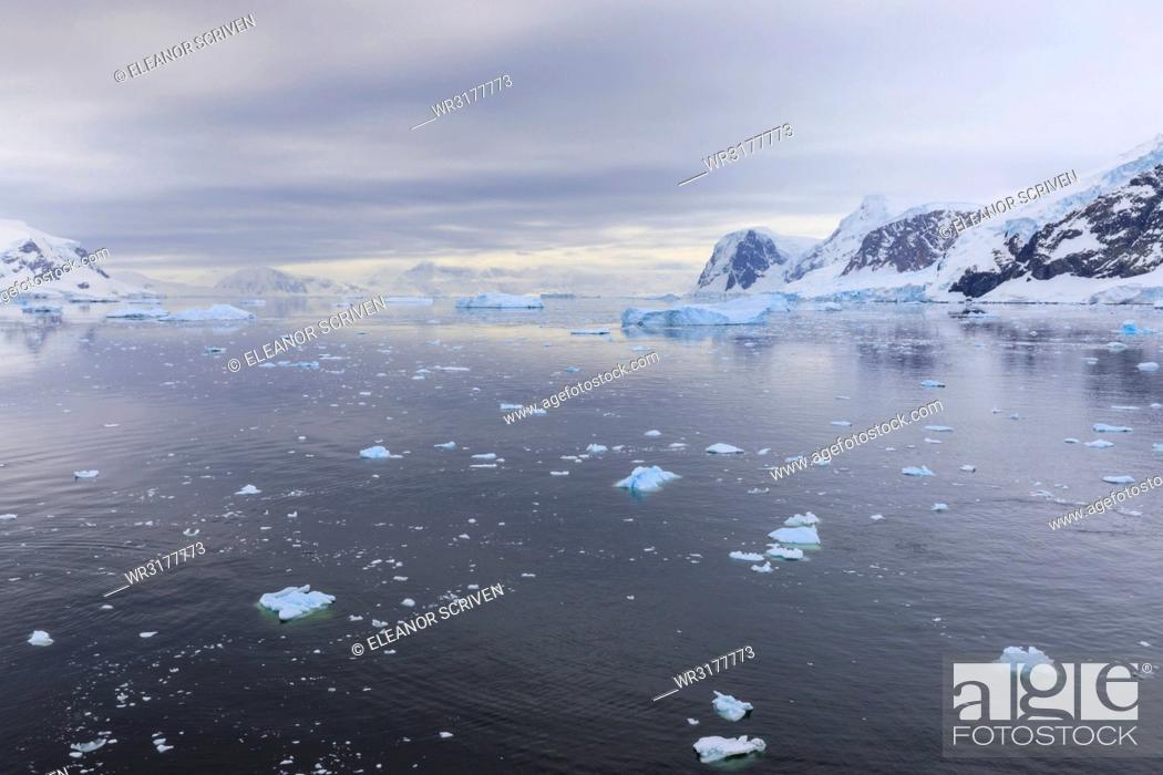 Stock Photo: Atmospheric iceberg, mountain and glacier reflections, Neko Harbour, Andvord Bay, Graham Land, Antarctic Peninsula, Antarctica, Polar Regions.
