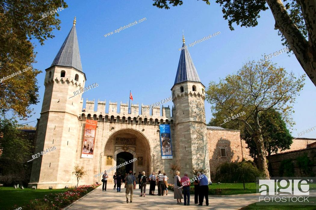 Stock Photo: The Gate of Salutations the entrance to the Topkapi Palace Museum Istanbul Turkey.