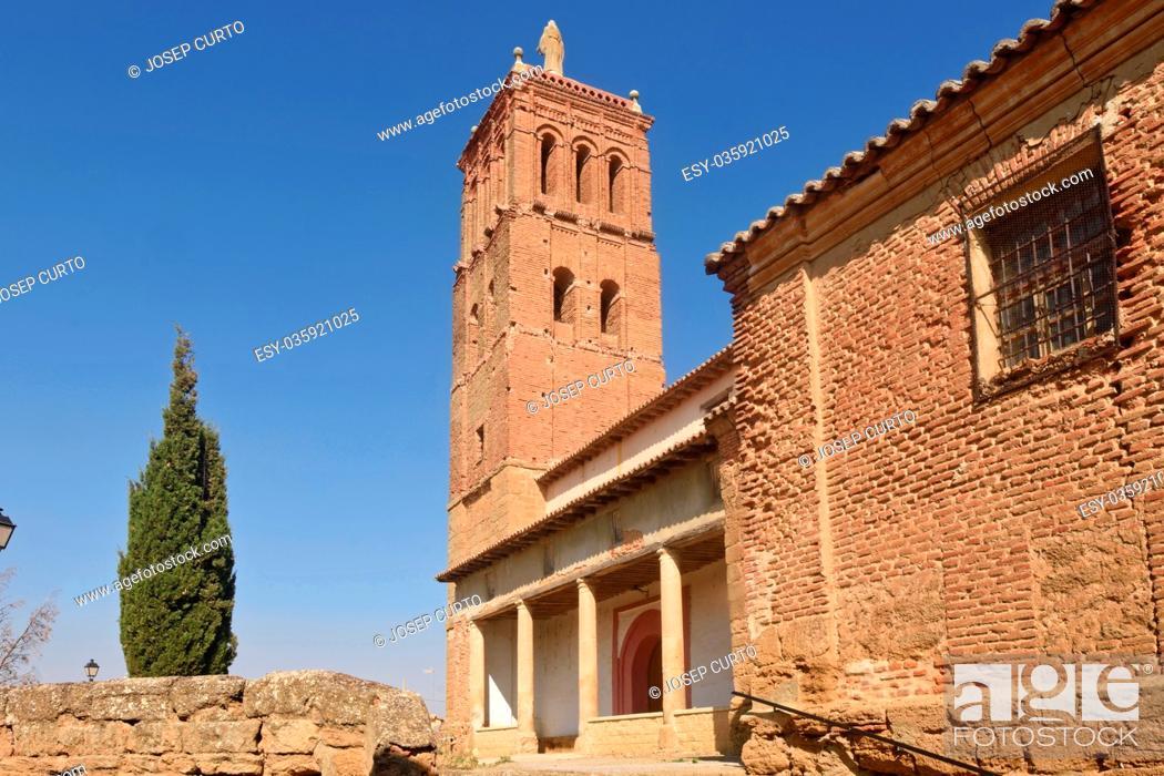 Stock Photo: Santo Tomas church in Villanueva del Campo, Tierra de Campos Region, Zamora province, Castilla y Leon, Spain.
