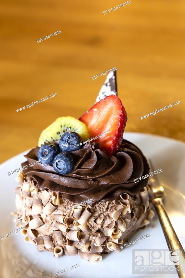Stock Photo: chocolate fruit dessert.