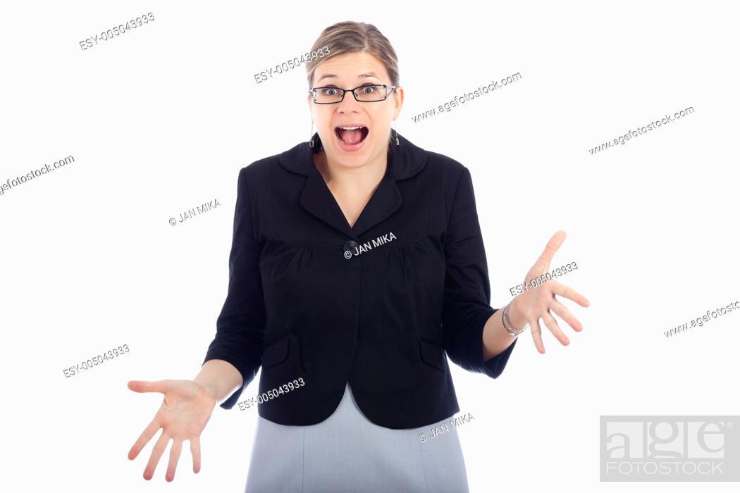 Stock Photo: Shocked woman, isolated on white background.