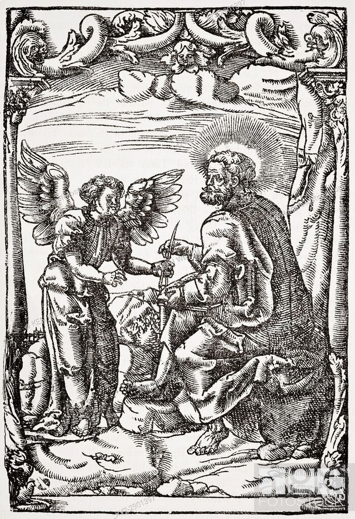 Stock Photo: Specimen from beginning of Tyndale's first English translation of the New Testament printed Cologne 1525. From The National and Domestic History of England by.