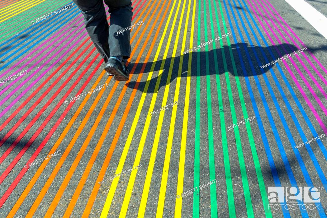 Stock Photo: Crosswalk in rainbow colors in gay and lesbian district The Castro, San Francisco, California, USA.