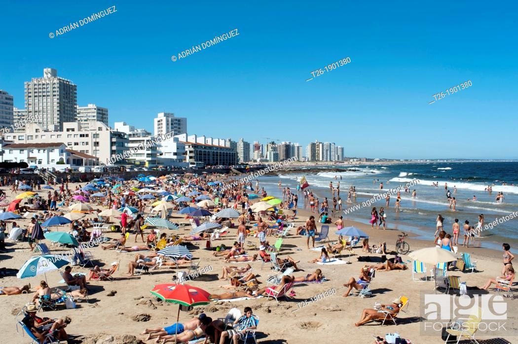 Stock Photo: A full beach in Punta del Este, Uruguay.