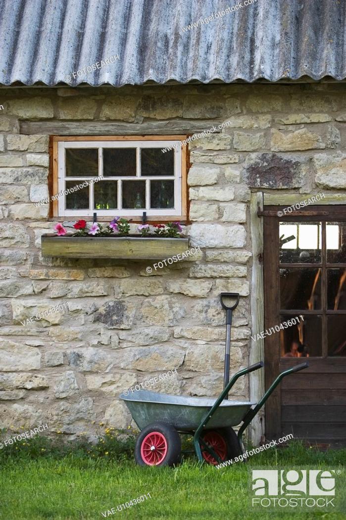 Stock Photo: Cart, Day, Door, Flower, Grass.