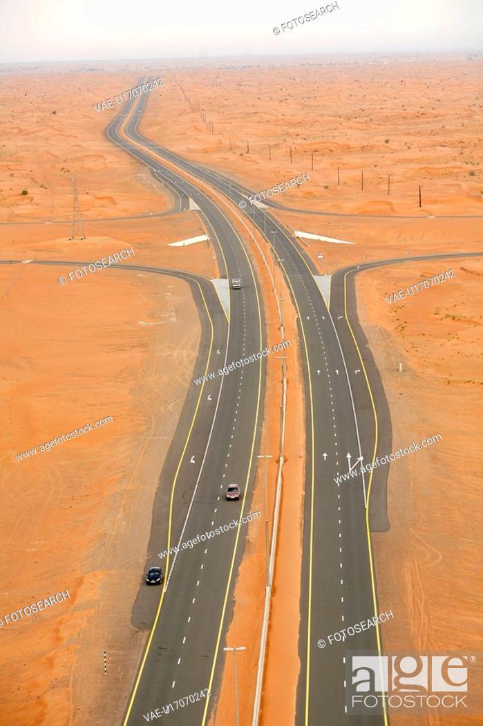Stock Photo: dubai, desert, road.
