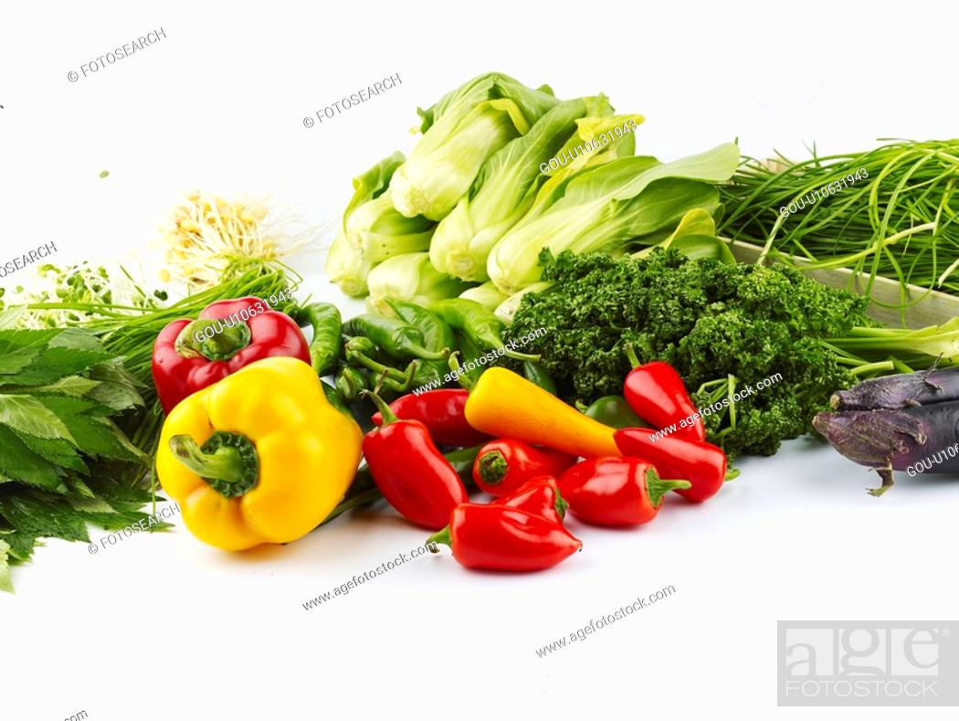 Stock Photo: pak choi, paprika, garlic chives, green pepper, red pepper, eggplant.