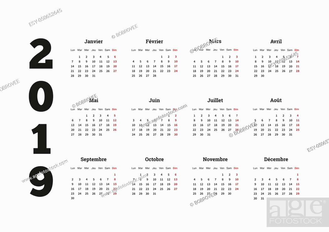 Stock Photo: 2019 year simple calendar on french language, isolated on white.