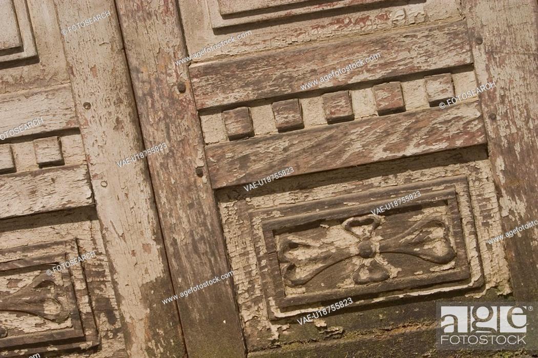 Stock Photo: figures, ancient, wooden, wood, door, wooden door.