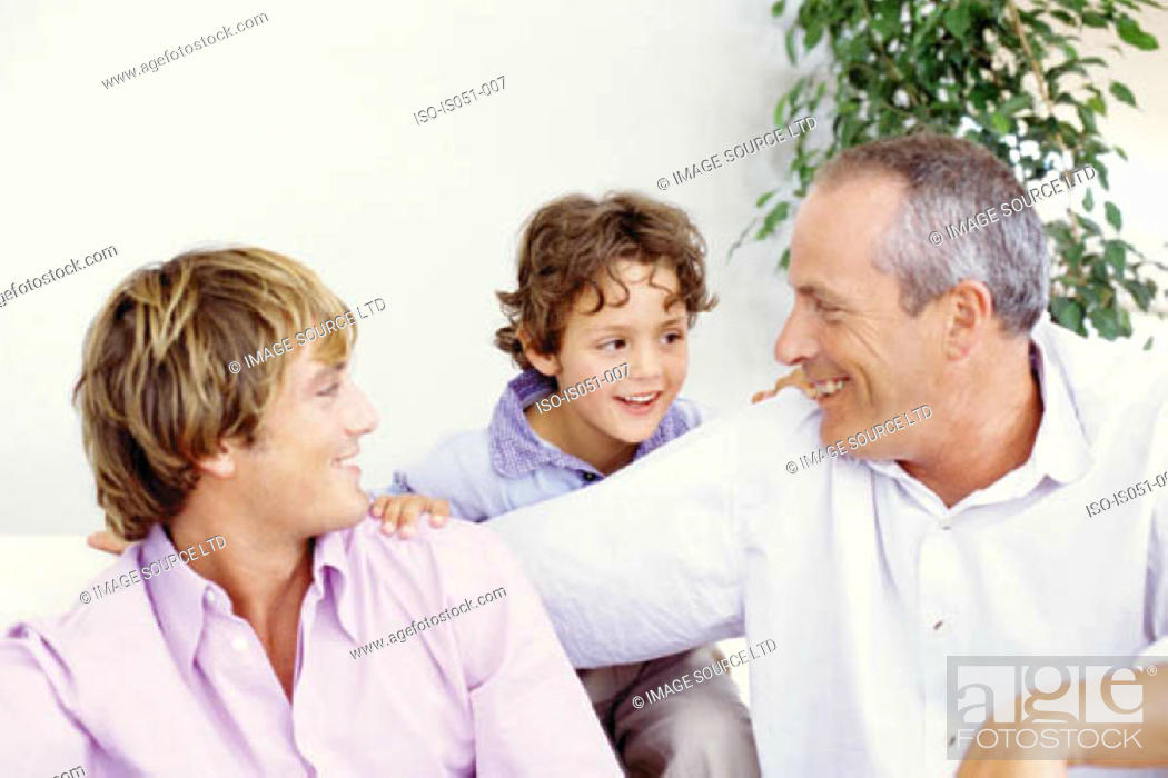 Stock Photo: Grandfather with son and grandson.