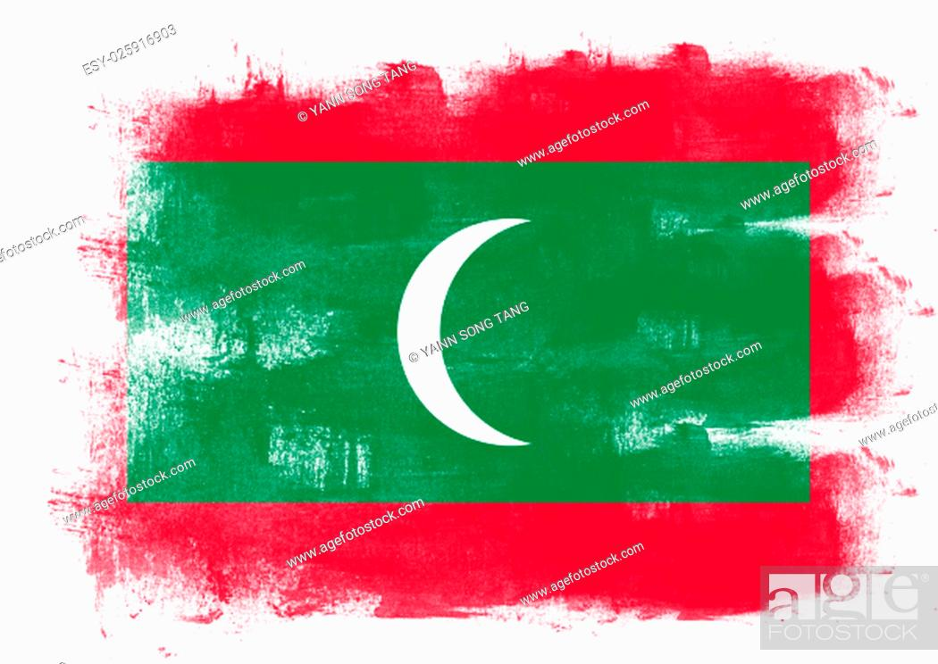 Stock Photo: Flag of Maldives painted with brush on solid background,.