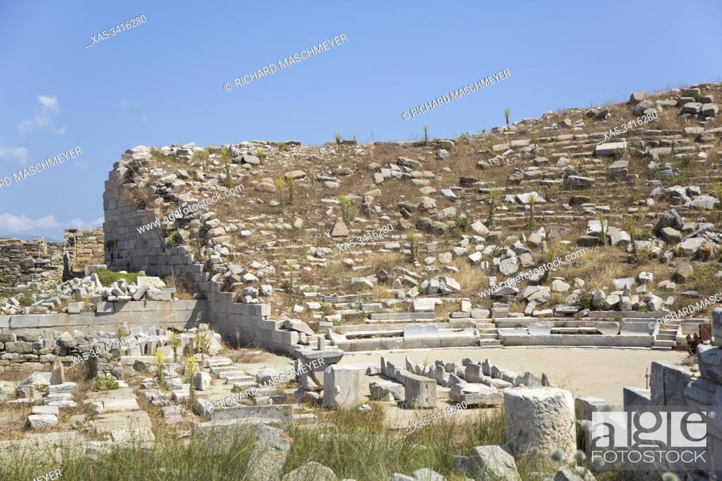Stock Photo: Theater, Delos Island, UNESCO World Heritage Site, Cyclades Group, Greece.
