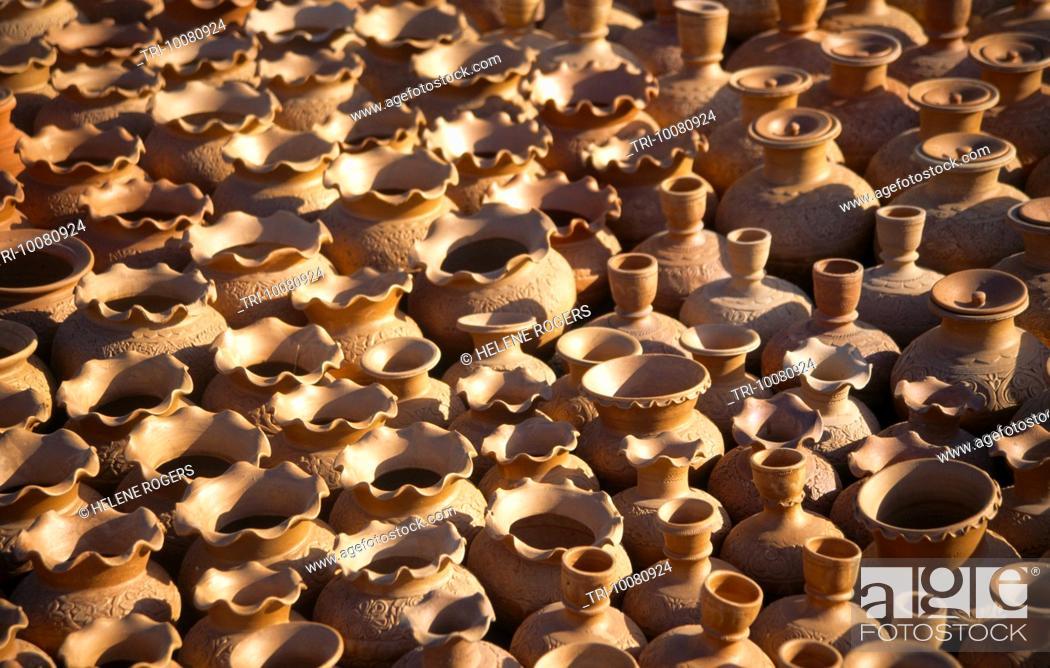 Stock Photo: Ras Al Khaimah UAE Friday Market Masafi Pots.