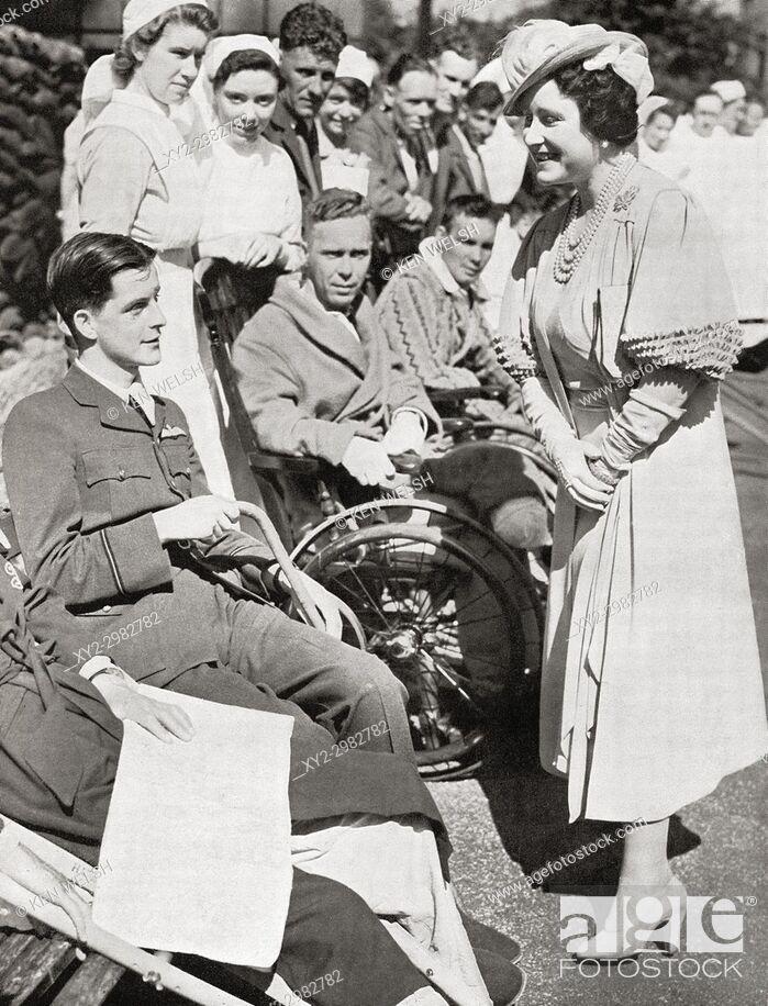 Stock Photo: Queen Elizabeth visiting the survivors of Dunkirk. Queen Elizabeth, The Queen Mother. Elizabeth Angela Marguerite Bowes-Lyon, 1900 - 2002.