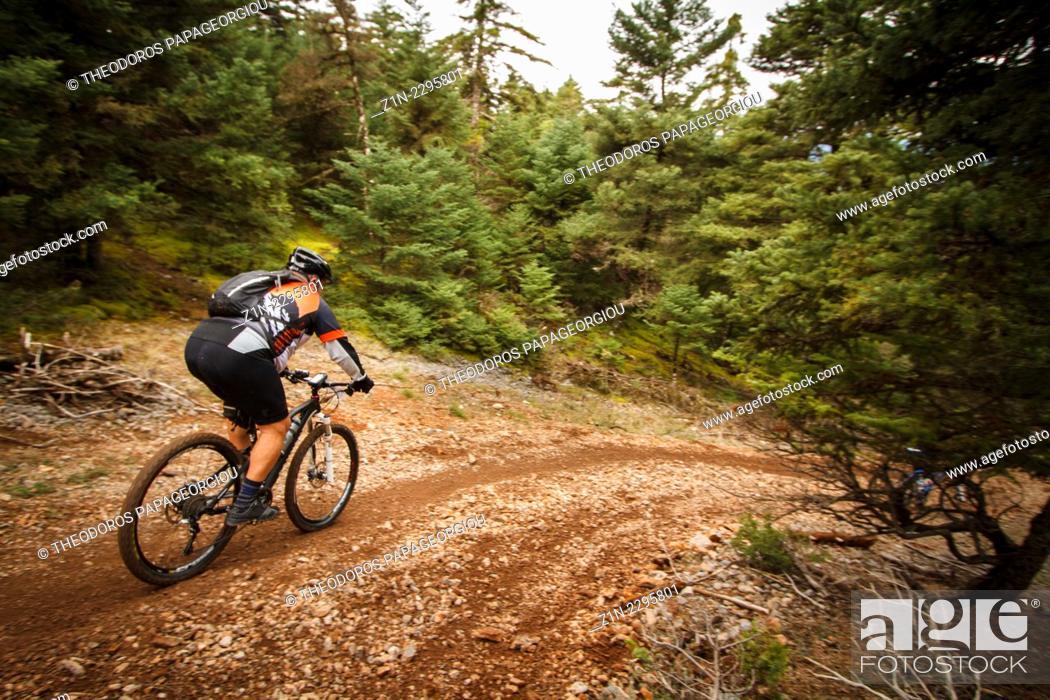 Stock Photo: Mountain biker on mount Menalon. Arcadia, Peloponnese, Greece.