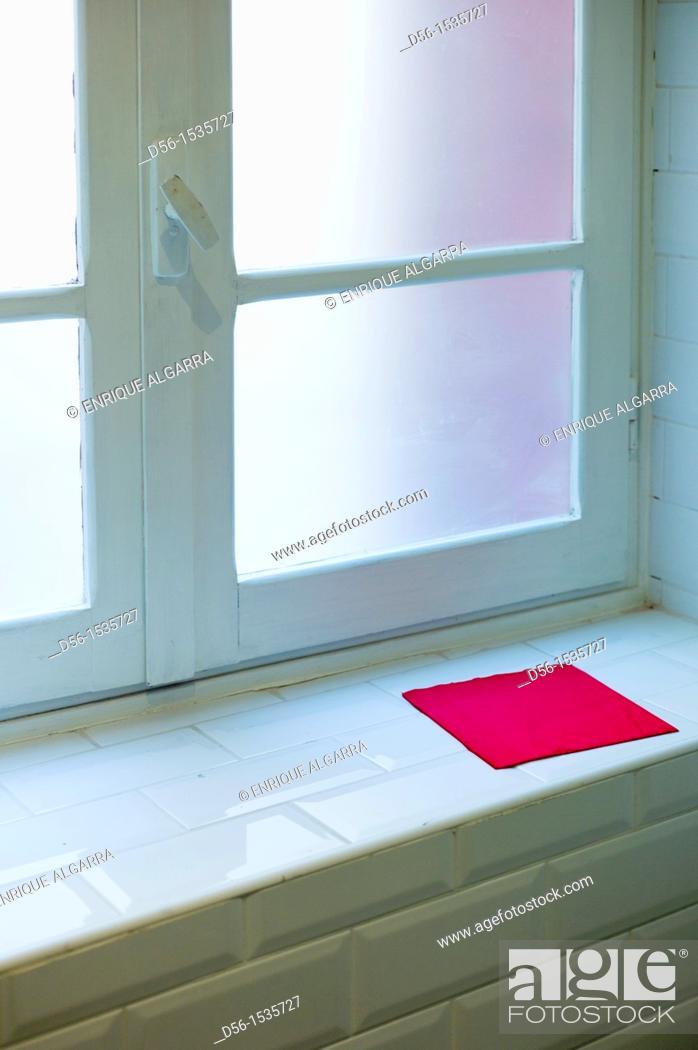 Stock Photo: Window and red napkin.