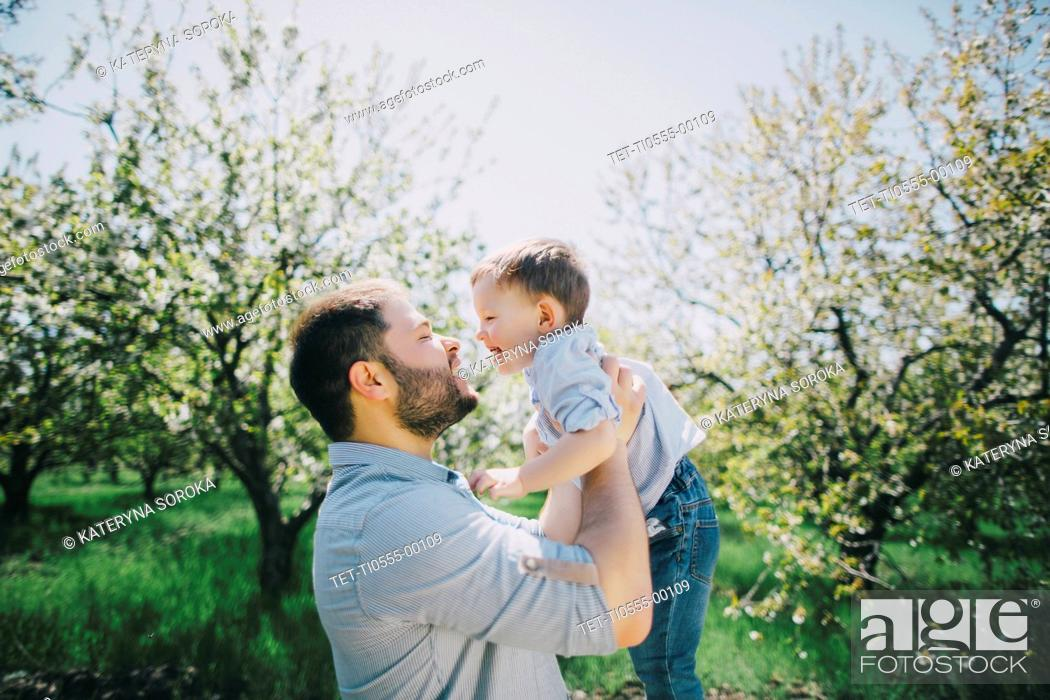 Stock Photo: Father with son (2-3) in orchard.