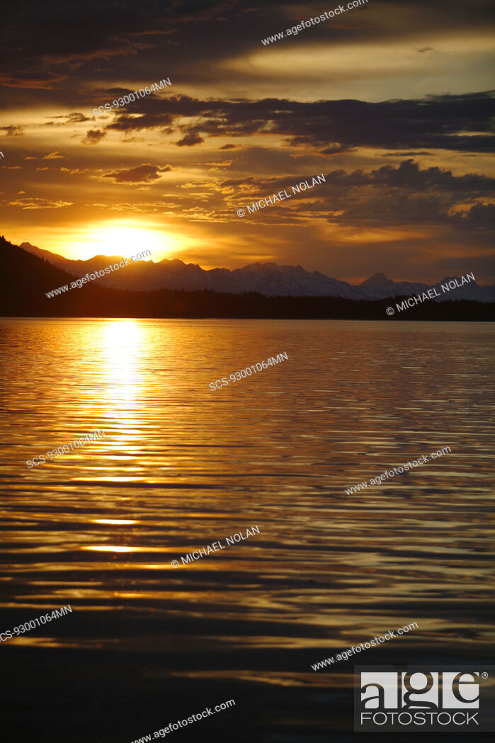 Stock Photo: View of the shoreline at sunset from Colt Island in Stephen's Passage of Admiralty Island, Southeast Alaska, USA Pacific Ocean.
