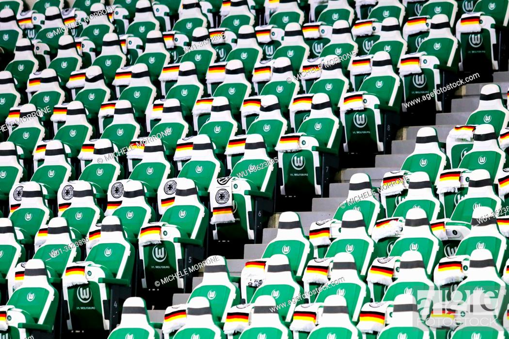 Imagen: Wolfsburg, Germany, March 20, 2019: grandstand seats in the Volkswagen Arena in Wolfsburg before the international soccer game between Germany and Serbia.