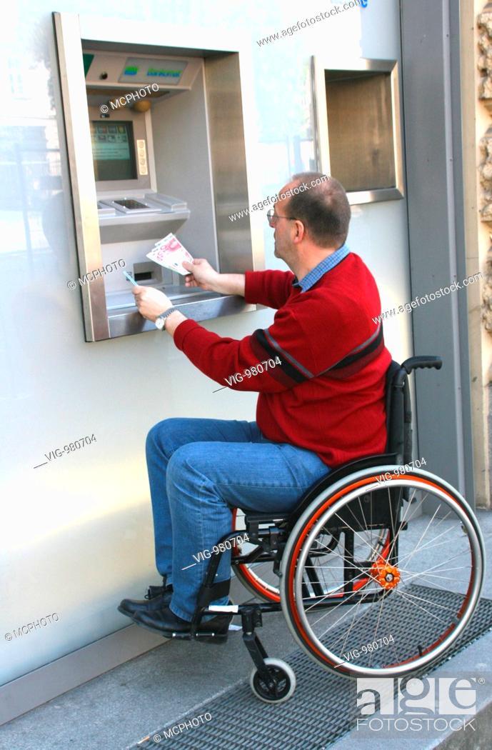 Stock Photo: Man in a wheel chair . - 02/09/2008.