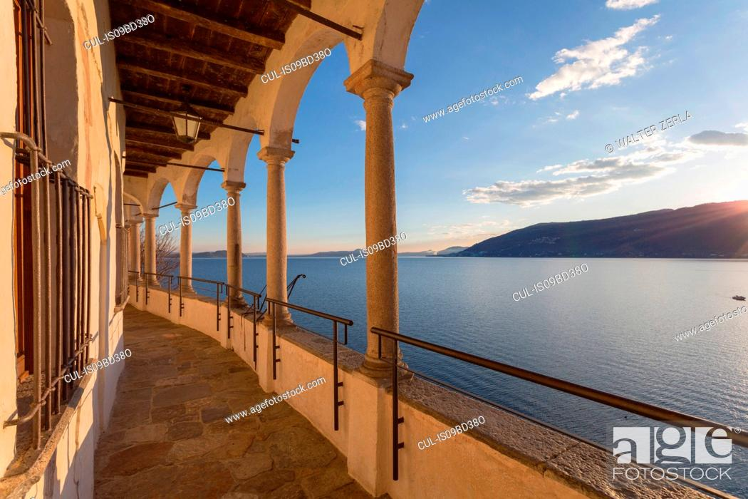 Stock Photo: Hermitage of Santa Caterina del Sasso, Lake Maggiore, Varese, Lombardy, Italy.