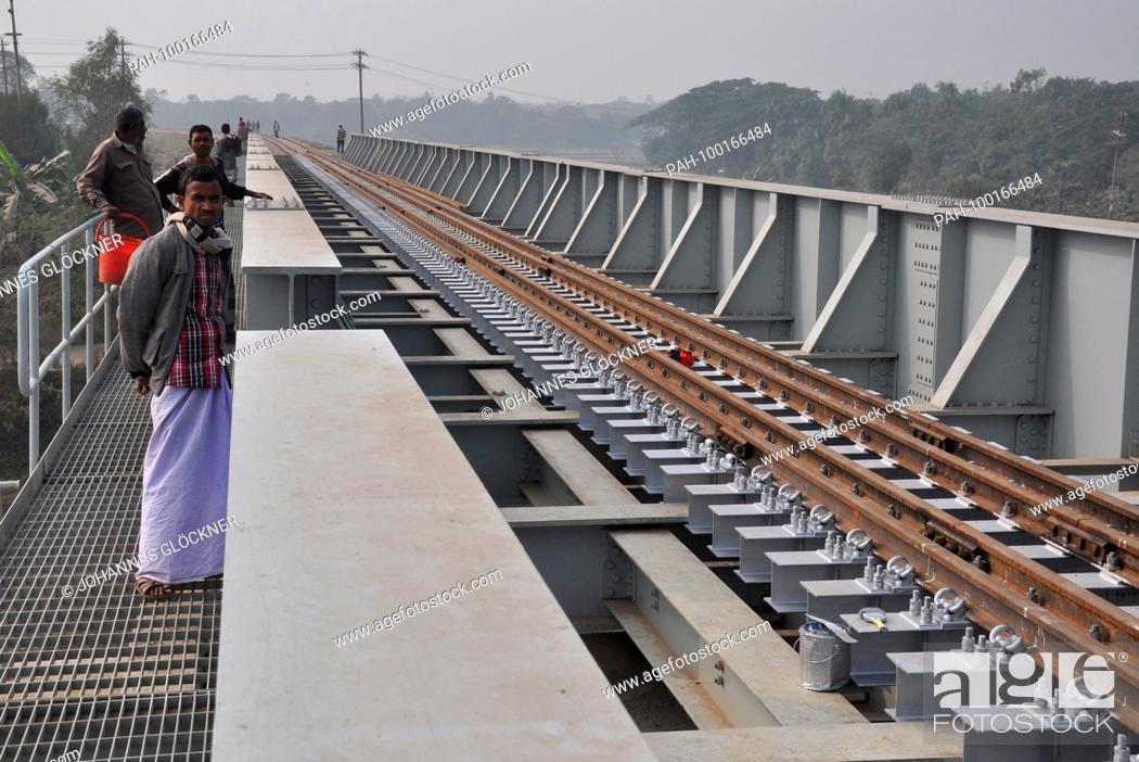 Stock Photo: New railway bridge in Ghorashal near Narsingdi on 09.01.2015 - Bangladesh   usage worldwide. - Ghorashal/Dhaka/Bangladesh.